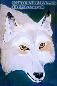 Lobo - ink painting by Beth E Peterson, All Rights Reserved.